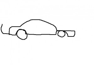 Drawing of poorly sketched car